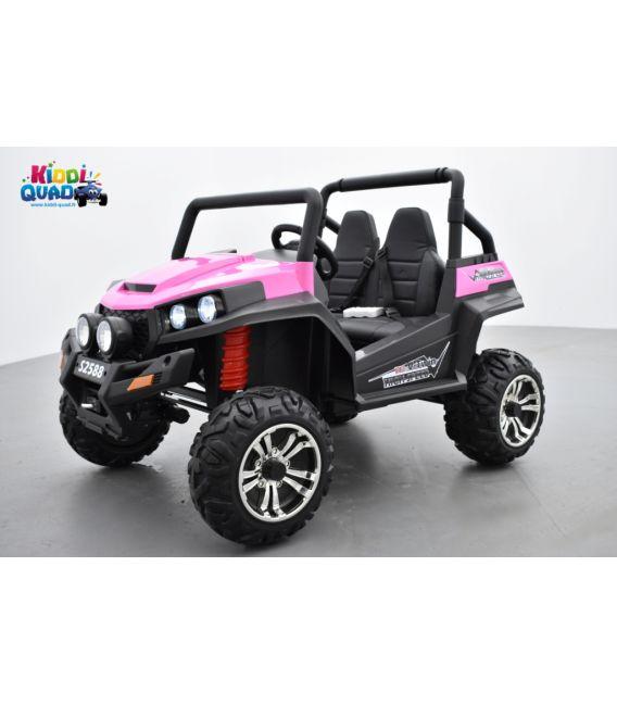 Buggy Rose 12v14Ah 4 roues motrices de 45 watts en gomme deux places, voiture électrique enfant