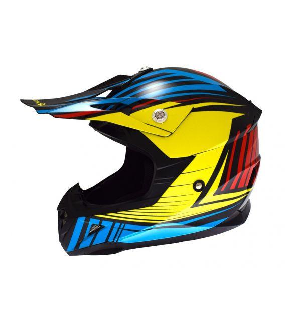 Casque cross enfant Atrax Radial moto quad jaune bleu rouge homologué ECE R22-05