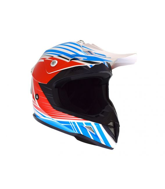Casque cross enfant Atrax Radial moto quad bleu rouge homologué ECE R22-05