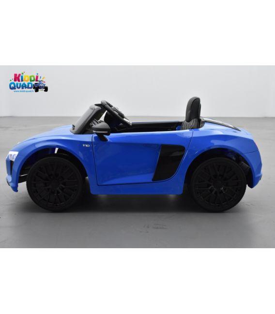 Audi R8 Spyder S Tronic 12 volts Bleu Ara Cristal, voiture electrique enfant télécommande parentale 2.4 GHZ, 12 volts, 2 moteurs