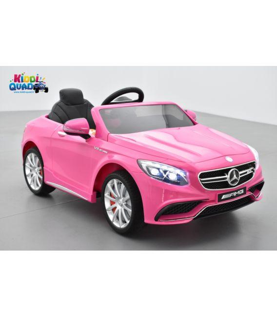 Mercedes S63 AMG Rose, avec télécommande parentale, voiture électrique enfant, 12V7AH - 2 moteurs