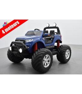 Monster Truck Ford Ranger Bleu Métallisée, voiture électrique enfant 12 volts - 4 moteurs