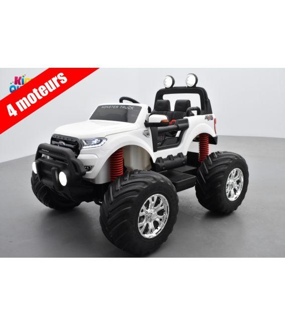 Monster Truck Ford Ranger Blanc, voiture électrique enfant 12 volts - 4 moteurs