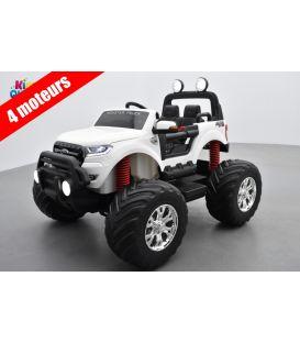 Monster Truck 2 x 12V Ford Ranger Blanc, voiture électrique enfant 12 volts - 4 moteurs