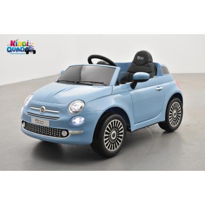 Fiat 500 bleu, véhicule électrique enfant télécommande parentale 2.4 Ghz, 12 Volts - 2 moteurs