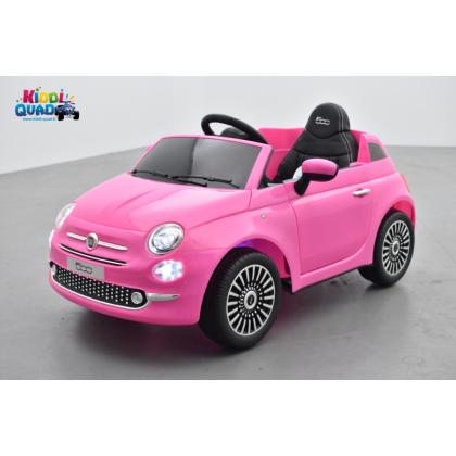 Fiat 500 Rose, véhicule électrique enfant télécommande parentale 2.4 Ghz, 12 Volts - 2 moteurs