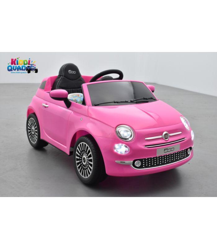 Fiat 500 Rose, véhicule électrique enfant télécommande parentale 2.4 Ghz, 12 Volts - 2 moteurs ...