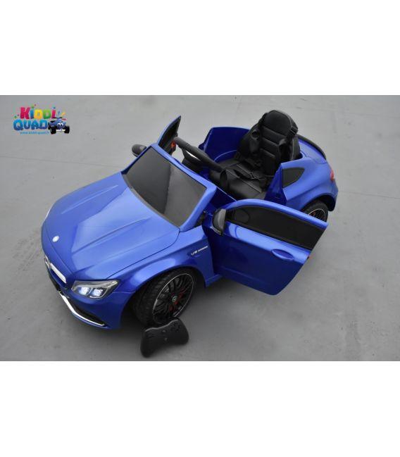 Mercedes C63 S Coupé AMG Bleu brillant métallisé, voiture électrique pour enfant, 12 Volts - 2 moteurs