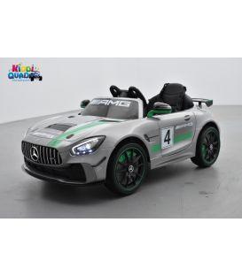 Mercedes GT4 AMG Gris Métallisée, Ecran MP4, voiture électrique pour enfant, 12 Volts - 2 moteurs