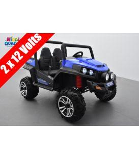 Buggy Bleu 12v14Ah 4 roues motrices de 45 watts en gomme deux places, voiture électrique enfant