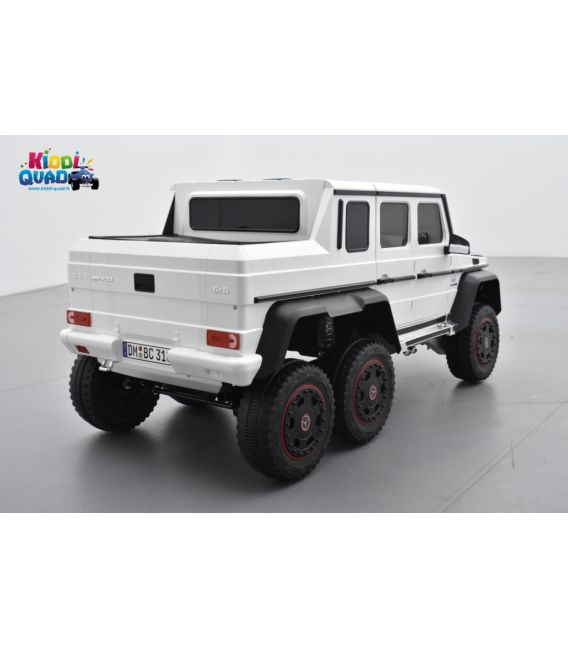 Mercedes G63 6x6 blanc, voiture électrique 12 volts, télécommande parentale