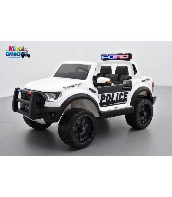 Ford Ranger Raptor Police blanc 12 Volts électrique enfant, voiture électrique enfant 12V 10Ah, 2 moteurs