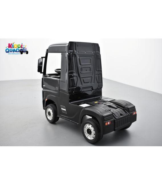 Mercedes Actros noir métallisé 2 x 12V, camion électrique enfant 12 volts télécommande parentale 2.4 Ghz, 12V 14Ah, 4 moteurs