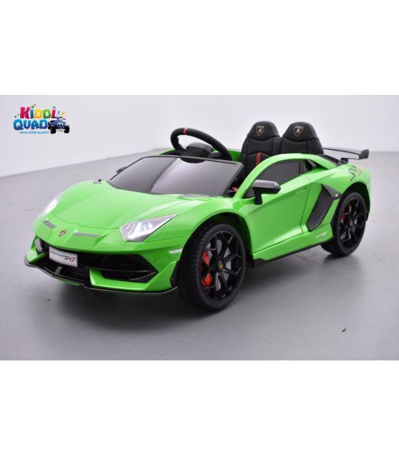 Lamborghini Aventador SVJ 12 Volts verde mantis, voiture électrique enfant 12V - 7AH, 2 moteurs