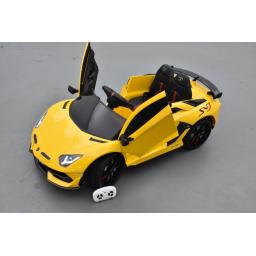 Lamborghini Aventador SVJ 12 Volts giallo corona, voiture électrique enfant 12V - 7AH, 2 moteurs