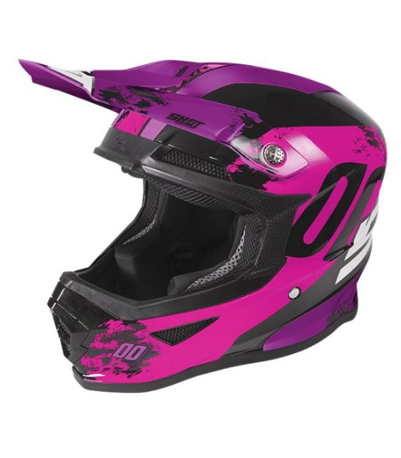 Casque cross enfant Shot moto quad FURIOUS KID SHADOW NEON PINK FUSHIA GLOSSY homologué ECE R22-05