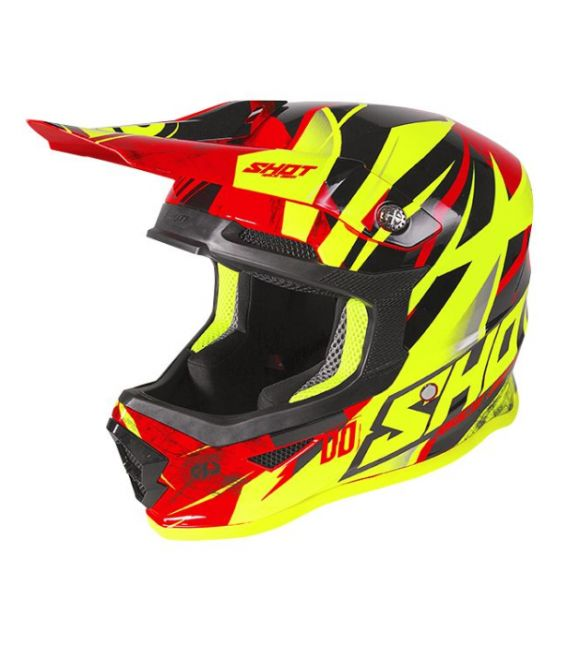 Casque cross enfant Freegun moto quad furious kid ventury black red neon yellow glossy homologué ECE R22-05