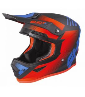 Casque cross enfant Shot moto quad furious kid trust black cyan neon orange glossy homologué ECE R22-05