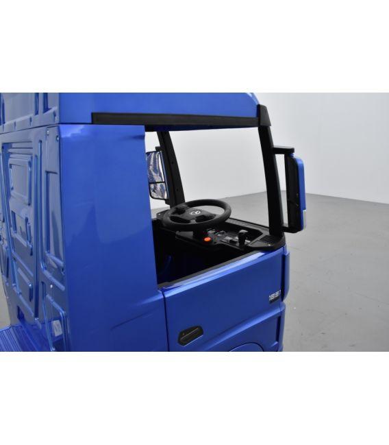 Mercedes Actros Bleu métallisé 2 x 12V, camion électrique enfant 12 volts télécommande parentale 2.4 Ghz, 12V 14Ah, 4 moteurs