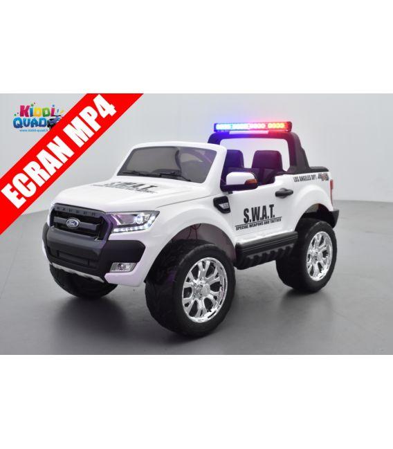 Ford Ranger S.W.A.T. Blanc, feux de patrouille sirène 2 x 12 volts avec télécommande parentale 2.4 GHz