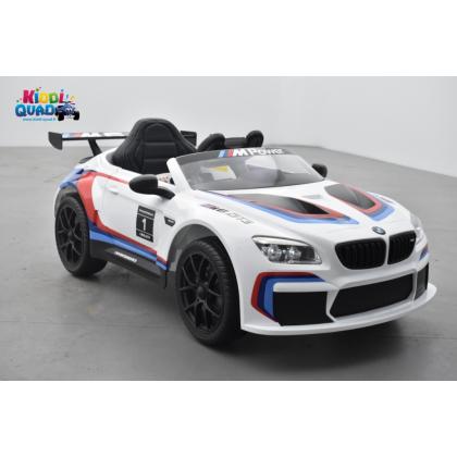 BMW M6 GT3 12 Volts blanc, voiture électrique enfant 12 Volts télécommande parentale 2.4 Ghz, 2 moteurs