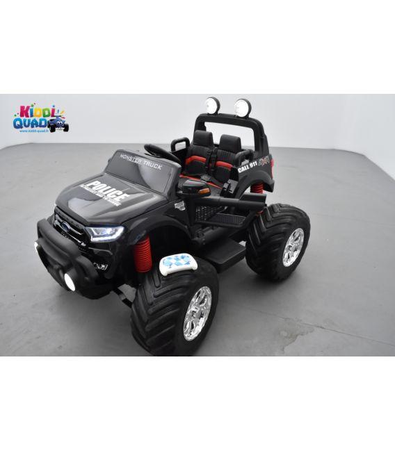 Monster Truck 2 x 12V Ford Ranger Police Noir Métallisée, voiture électrique enfant 12 volts - 4 moteurs