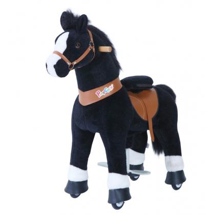 PonyCycle Noir, cheval à roulettes enfant 4 à 10 ans
