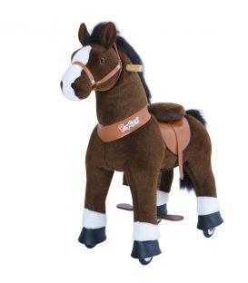 PonyCycle Marron Foncé avec marque blanche, cheval à roulettes enfant 2 à 4 ans