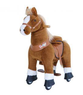 PonyCycle Marron Clair avec marque blanche, cheval à roulettes enfant 2 à 4 ans