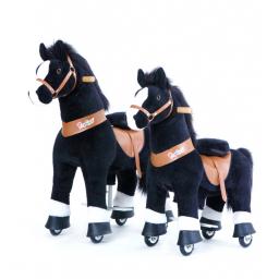 PonyCycle Noir avec une marque blanche, cheval à roulettes enfant 2 à 4 ans