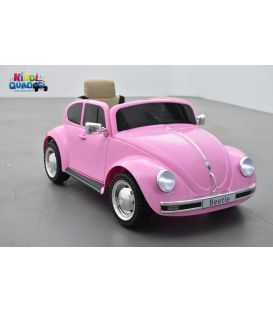 """Volkswagen Coccinelle """"Beetle"""" Rose, Version Rétro, 12 volts, voiture électrique pour enfant"""