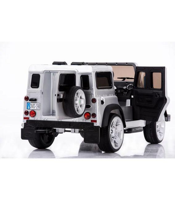 Land Rover Defender Blanc Fuji, voiture électrique pour enfant 12 volts avec télécommande parentale