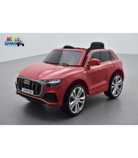 Audi Q8 Rouge Métallisée, voiture électrique enfant télécommande parentale, 12 Volts - 2 moteurs