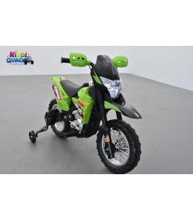 Moto Cross Verte 6 volts, moto électrique pour enfant 6 volts