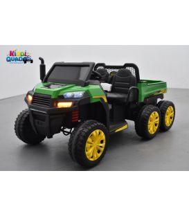 Tracteur 6X6 Vert avec benne basculante, camion électrique pour enfant, 2 x 12Volts - 7AH, 4 moteurs
