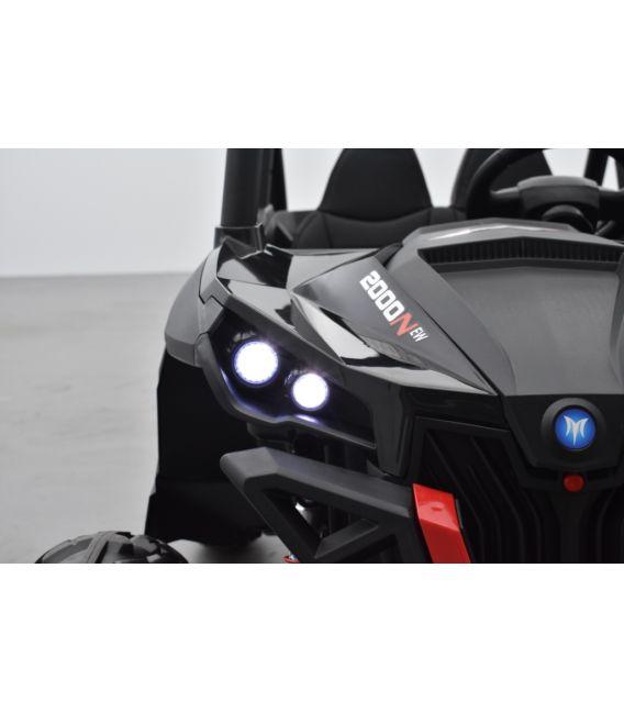 Buggy UTV Noir 2 x 12V 4 roues motrices en gomme deux places, buggy électrique enfant
