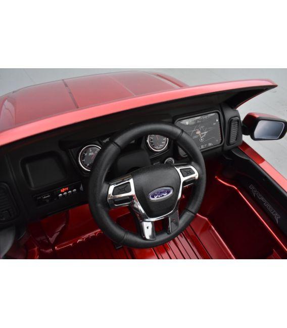 Ford Ranger Raptor Rouge Métallisée, voiture électrique enfant, 12V 10Ah, 2 moteurs
