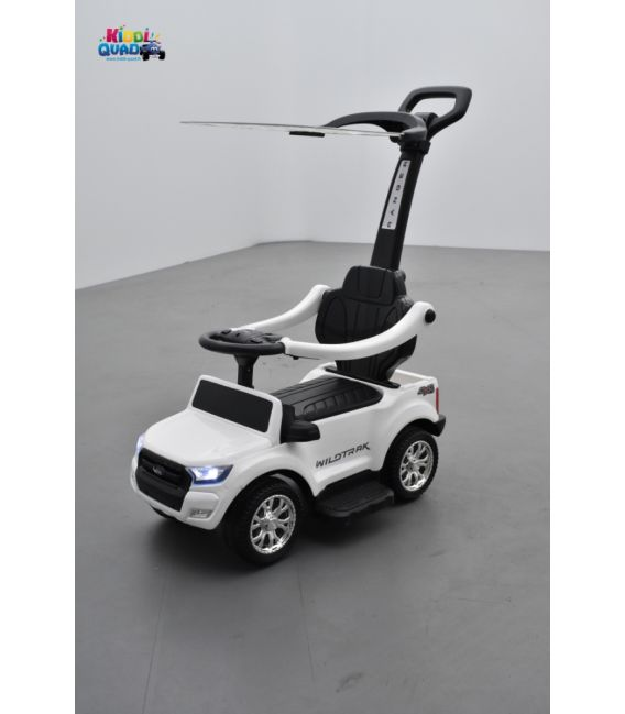 Trotteur voiture Ford Ranger blanc, porteur pousseur ombrelle pour enfant