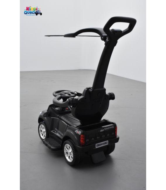 Trotteur voiture Ford Ranger noir, porteur pousseur ombrelle pour enfant