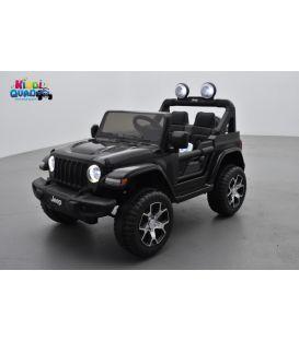 4X4 Jeep Wrangler Rubicon Noir avec Ecran MP4, véhicule électrique enfant, 12V - 2 moteurs