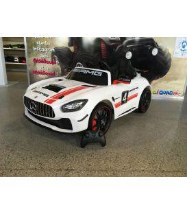 Mercedes GT4 AMG Blanc, Ecran MP4, voiture électrique pour enfant, 12 Volts - 2 moteurs