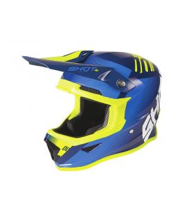 Casque cross enfant Shot moto quad furious kid trust blue neon yellow glossy homologué ECE R22-05