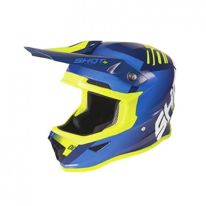 Casque cross enfant Shot moto quad furious kid trust blue neon yellow glossy homologué ECE R22-05