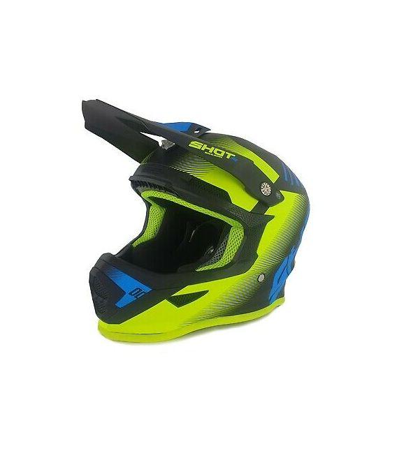 Casque cross enfant Shot moto quad furious kid trust black blue neon yellow homologué ECE R22-05