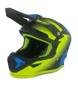 Casque cross enfant Shot moto quad furious kid trust black blue neon yellow homologué ECE R22-05