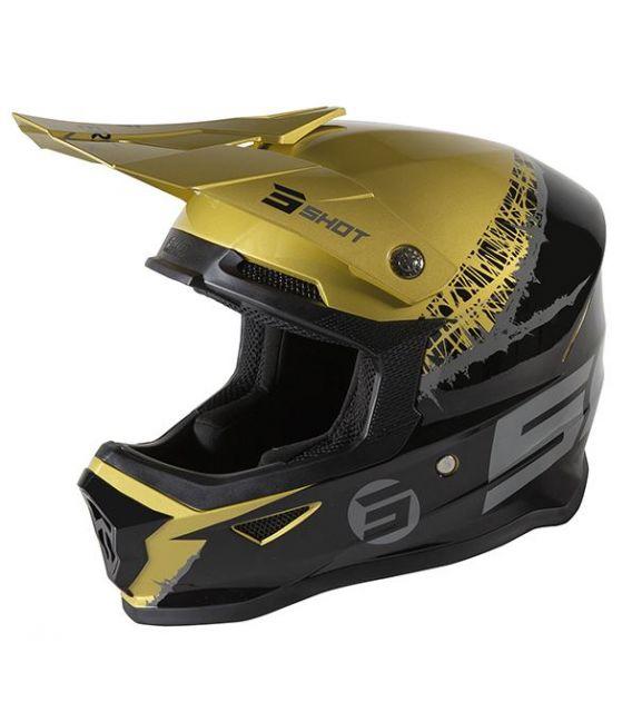 Casque cross enfant Shot moto quad furious kid storm gold glossy homologué ECE R22-05