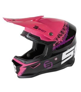 Casque cross enfant Shot moto quad furious kid storm black fushia glossy homologué ECE R22-05