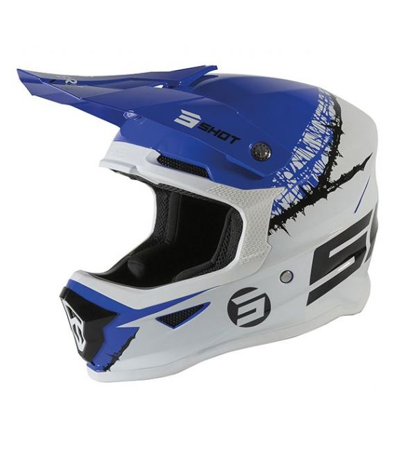 Casque cross enfant Shot moto quad furious kid storm white blue glossy homologué ECE R22-05