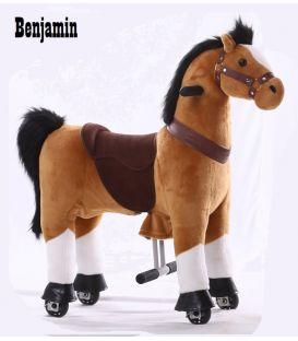 Kids-Horse Marron clair, cheval à roulettes enfant 3 à 6 ans
