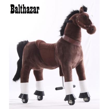 Kids-Horse Marron foncé avec marque blanche, cheval à roulettes enfant 3 à 6 ans